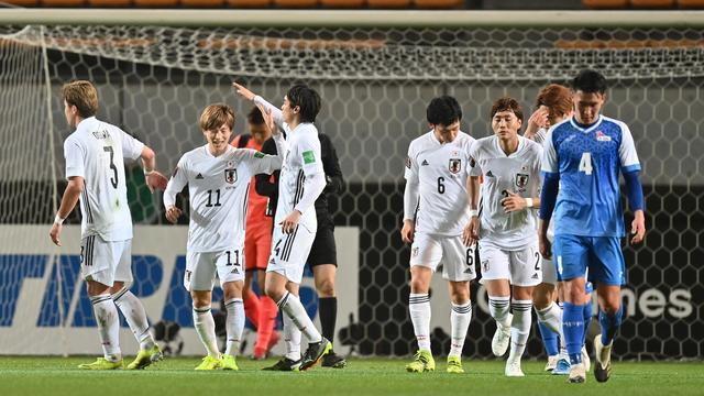 Japan viert een van de veertien treffers tegen Mongolië.
