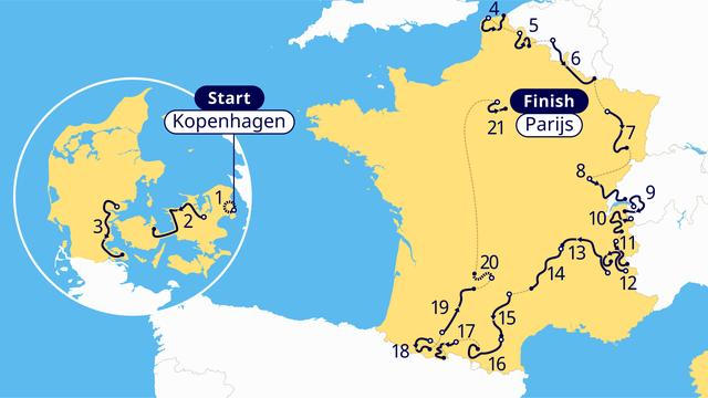 Het Tour de France-parcours in 2022.