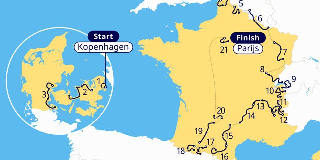 Tour de France telt in 2022 twee tijdritten en zeven aankomsten bergop