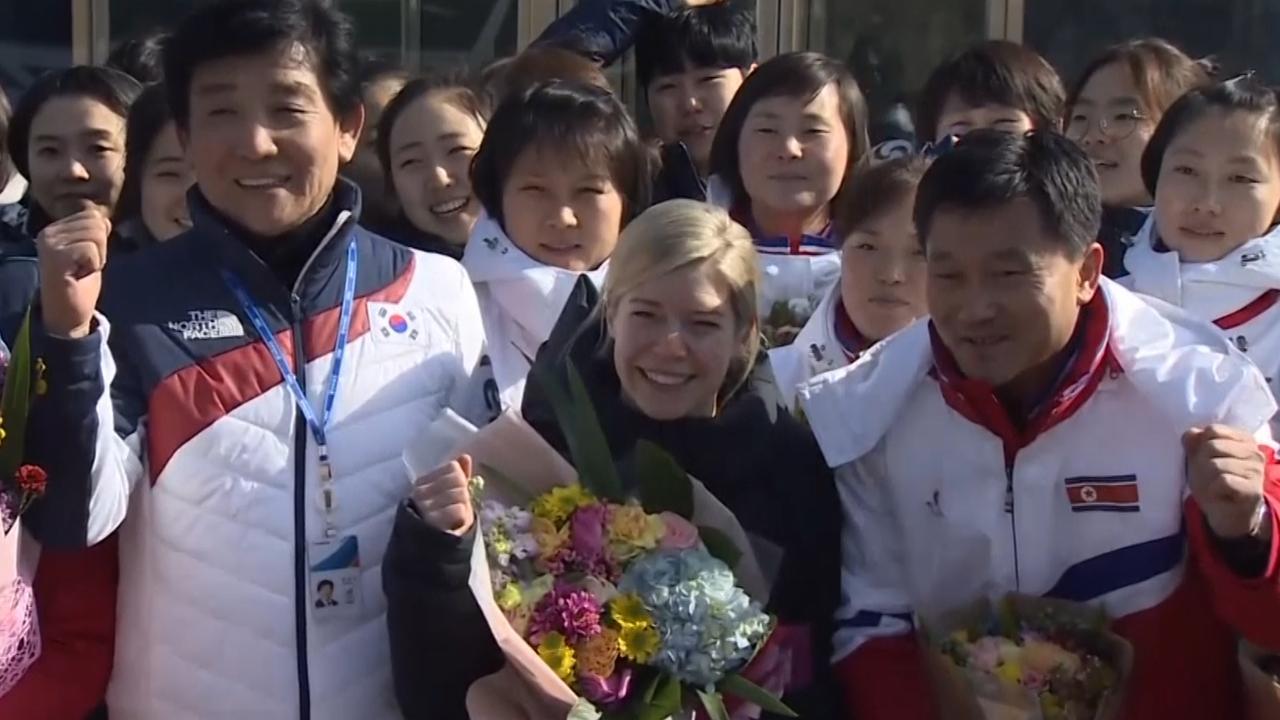 IJshockeysters Noord- en Zuid-Korea voor het eerst samen