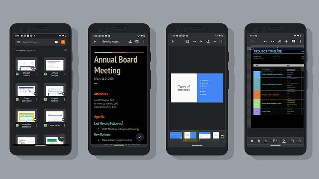 Google voegt donkere modus toe aan Docs, Sheets en Slides op Android