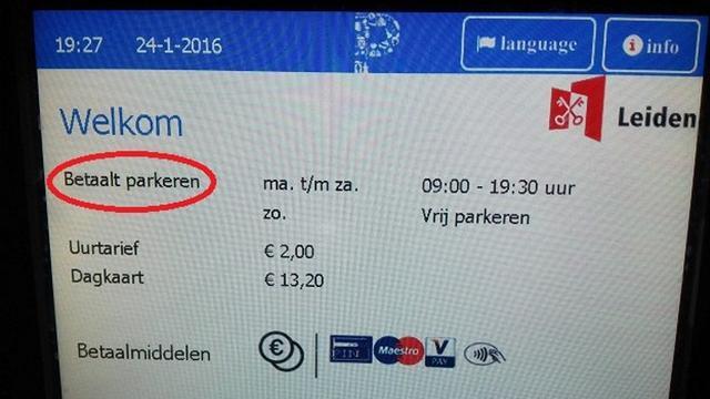 Gemeente Leiden maakt taalfoutje: 'betaalt' parkeren