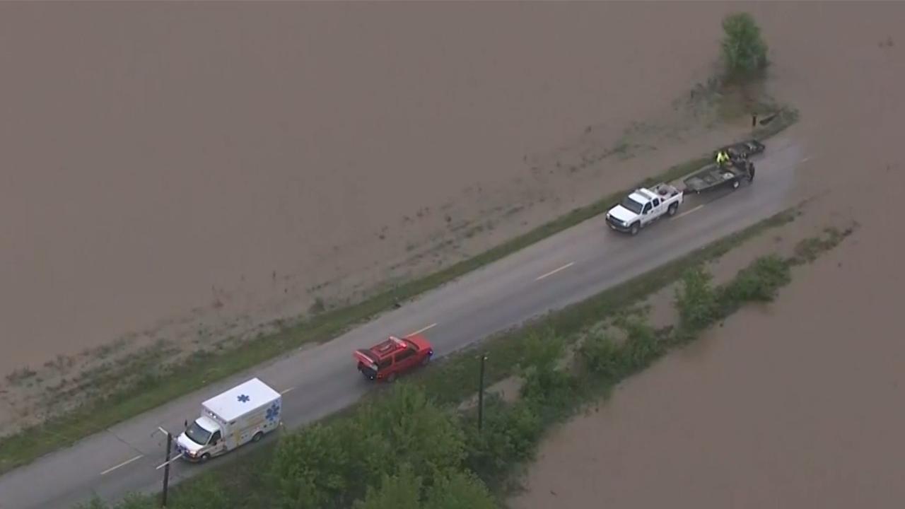 Helikopterbeelden van overstromingen Verenigde Staten