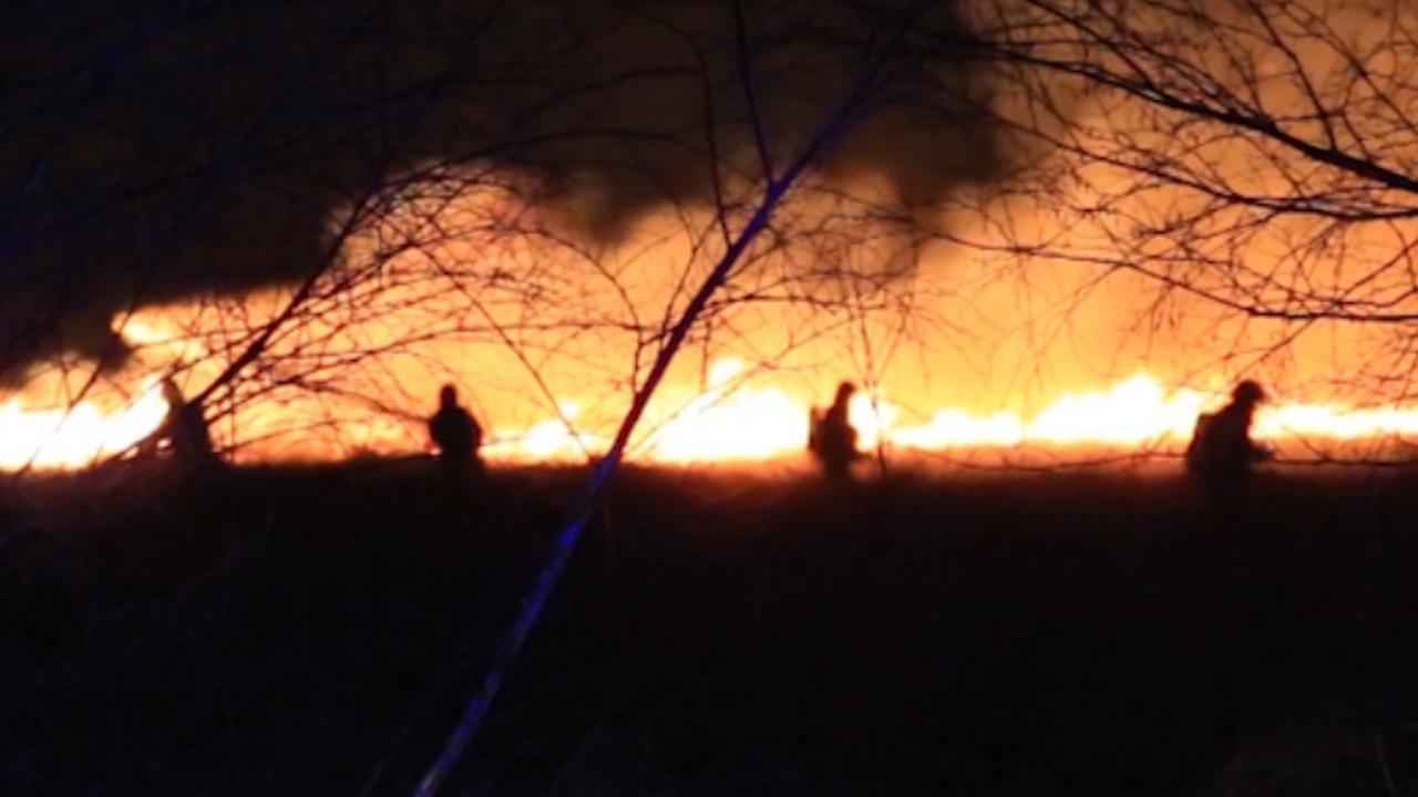 Brandweer kijkt toe hoe vuur deel Deurnese Peel verwoest