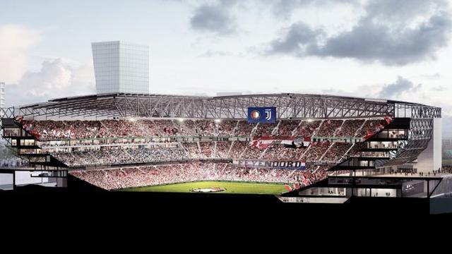 Een ontwerp uit de bouwplannen voor het nieuwe stadion van Feyenoord.
