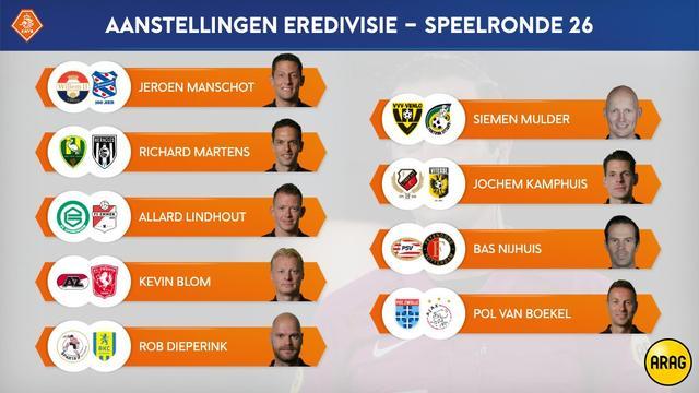 De aanstellingen van de scheidsrechters voor de 26e speelronde in de Eredivisie.