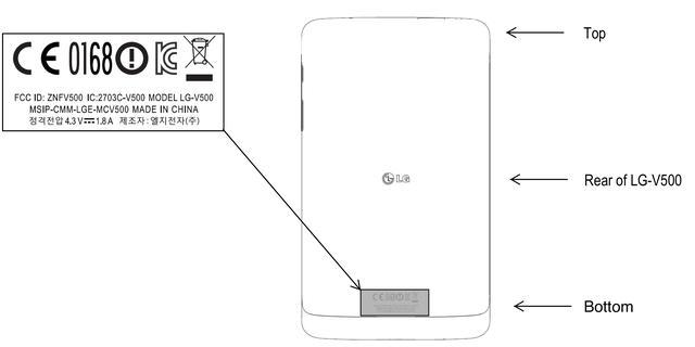 Tekening van LG-tablet G Pad opgedoken