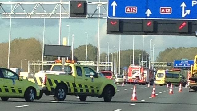 A12 bij Bodegraven gedeeltelijk dicht na ongeluk orgaantransport.