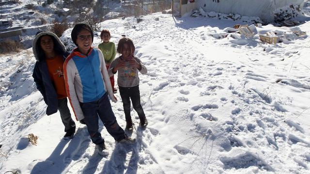 Syrische vluchtelingen zwaar getroffen door sneeuw