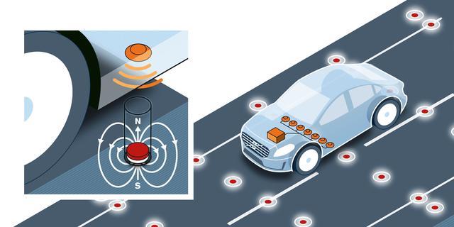 Zelfrijdende Volvo's navigeren met magneten in het wegdek