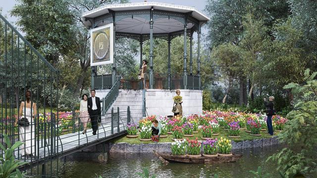 Tulpenondernemer start veiling in Vondelpark