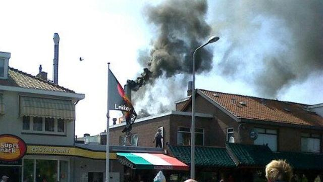 Grote brand in Chinees restaurant Monster