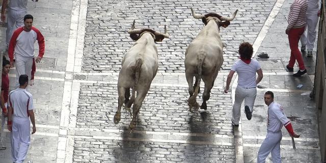 Gewonden door losgebroken stier Pamplona