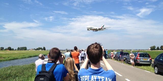 Airbus A380 geland op Schiphol