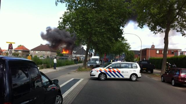 Grote brand textielopslag in Almelo