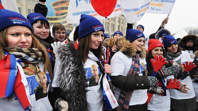 Tienduizenden demonstreren voor Poetin
