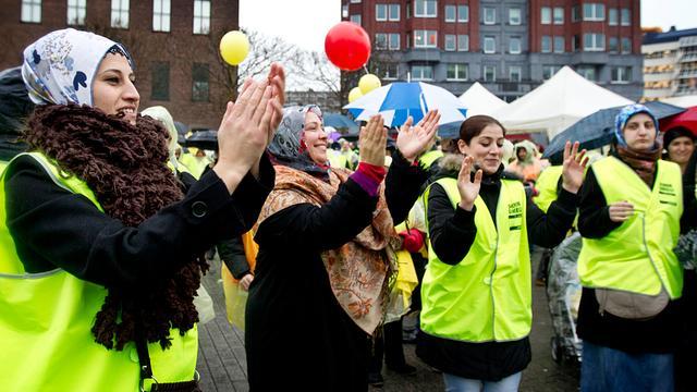 Schoonmakers voeren actie in Eindhoven