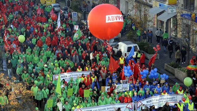 Groot Belgisch protest tegen nieuwe regering