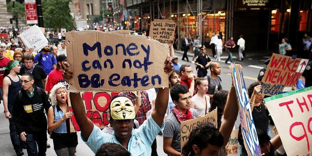 Betoging in Frankfurt tegen kapitalisme