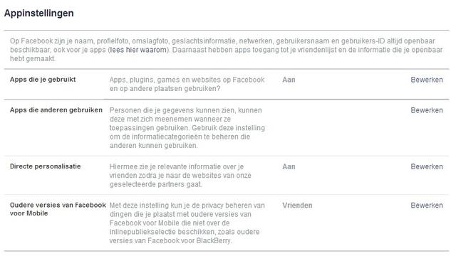 Privacyinstellingen Facebook