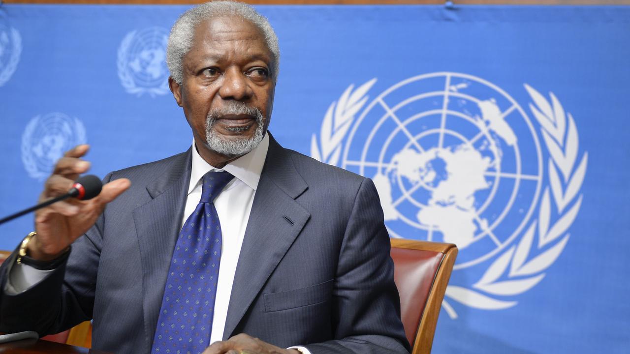 Live: Familie en prominenten nemen afscheid van Kofi Annan