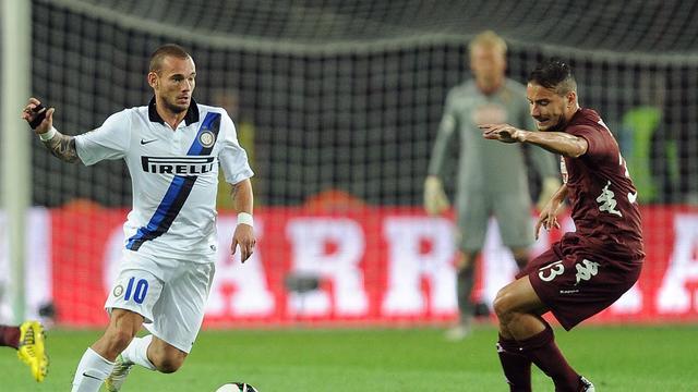 'Geen problemen tussen Sneijder en Inter-coach Stramaccioni'