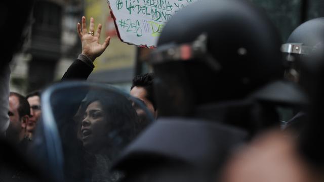 Botsingen bij betoging in Madrid