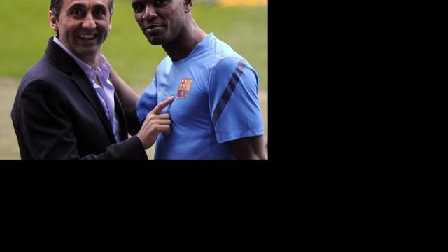 Eerste training Abidal na levertransplantatie