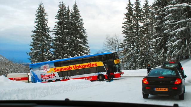 Lange files op terugreis wintersport