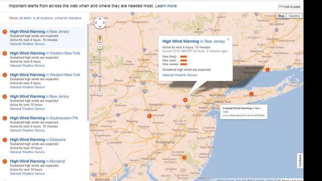 Google en Twitter verspreiden informatie rond Sandy
