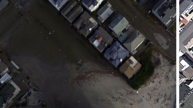 Google maakt satellietfoto's van ravage Sandy