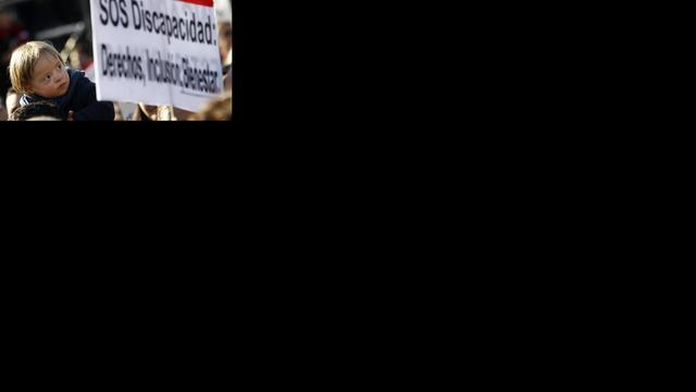 Massaal protest Spaanse gehandicapten