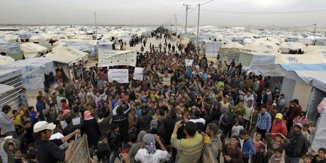 Rellen in vluchtelingenkamp Jordanië