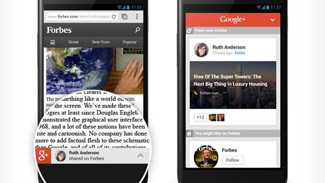Google+ raadt artikelen aan op mobiele websites