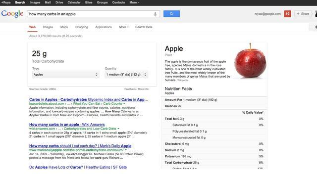 Google gaat voedingsinformatie bij zoekresultaten tonen