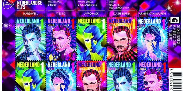Vijf Nederlandse dj's krijgen hun eigen postzegel