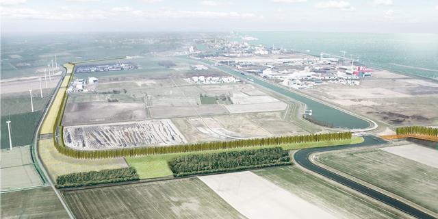 Groene heg verhult industrieterrein Delfzijl