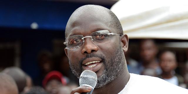 Oud-voetballer George Weah wordt president van Liberia