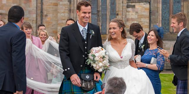 Andy Murray trouwt in Schotse rok