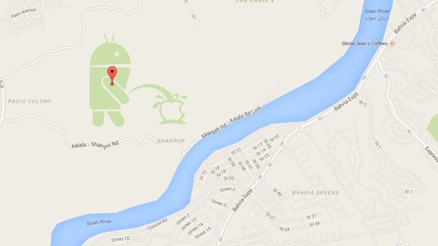 Google sluit publieke kaartmaker na op Apple plassend Android-poppetje