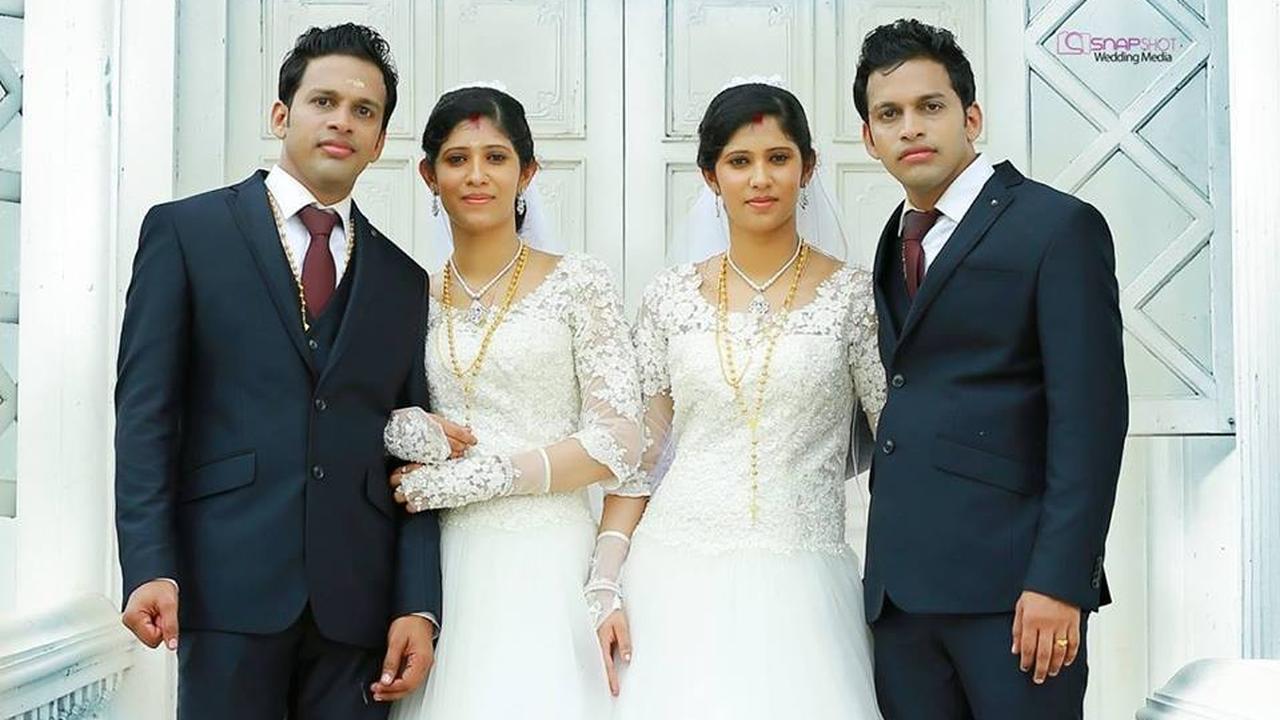 Dubbele Indiaanse tweelingen bruiloft