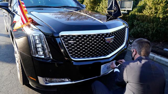 Finally, the presidential Cadillac 'the Beast' also got a new license plate.