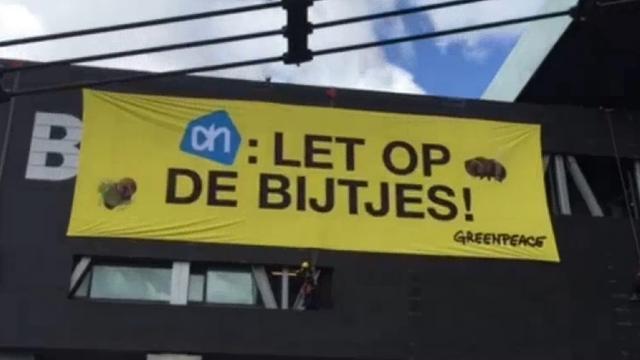 Greenpeace voert actie tegen Albert Heijn bij Bimhuis