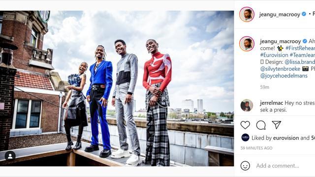Op Instagram onthulde Jeangu Macrooy de outfit die hij droeg tijdens de eerste repetitie.