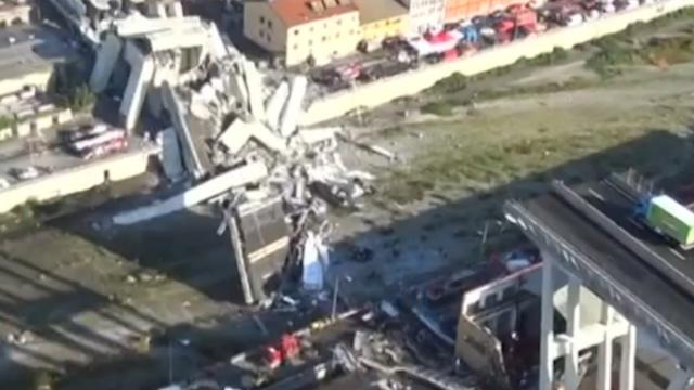 Helikopter brengt omvang schade na instorting brug Genua in kaart