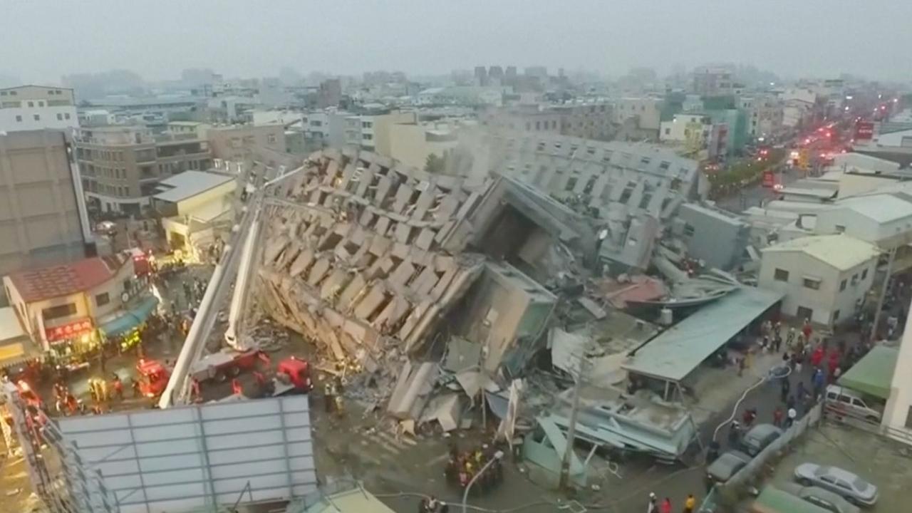 Dronebeelden tonen ravage na aardbeving Taiwan