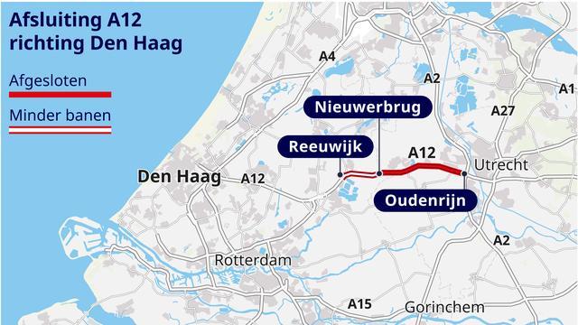 De A12 richting Den Haag blijft tot 7 oktober deels afgesloten.