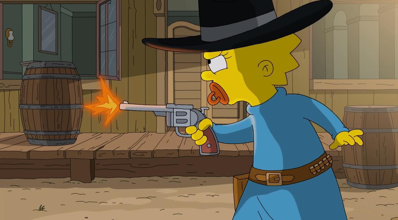 Simpsons rekenen af met hoofdpersonage 'Gunsmoke'