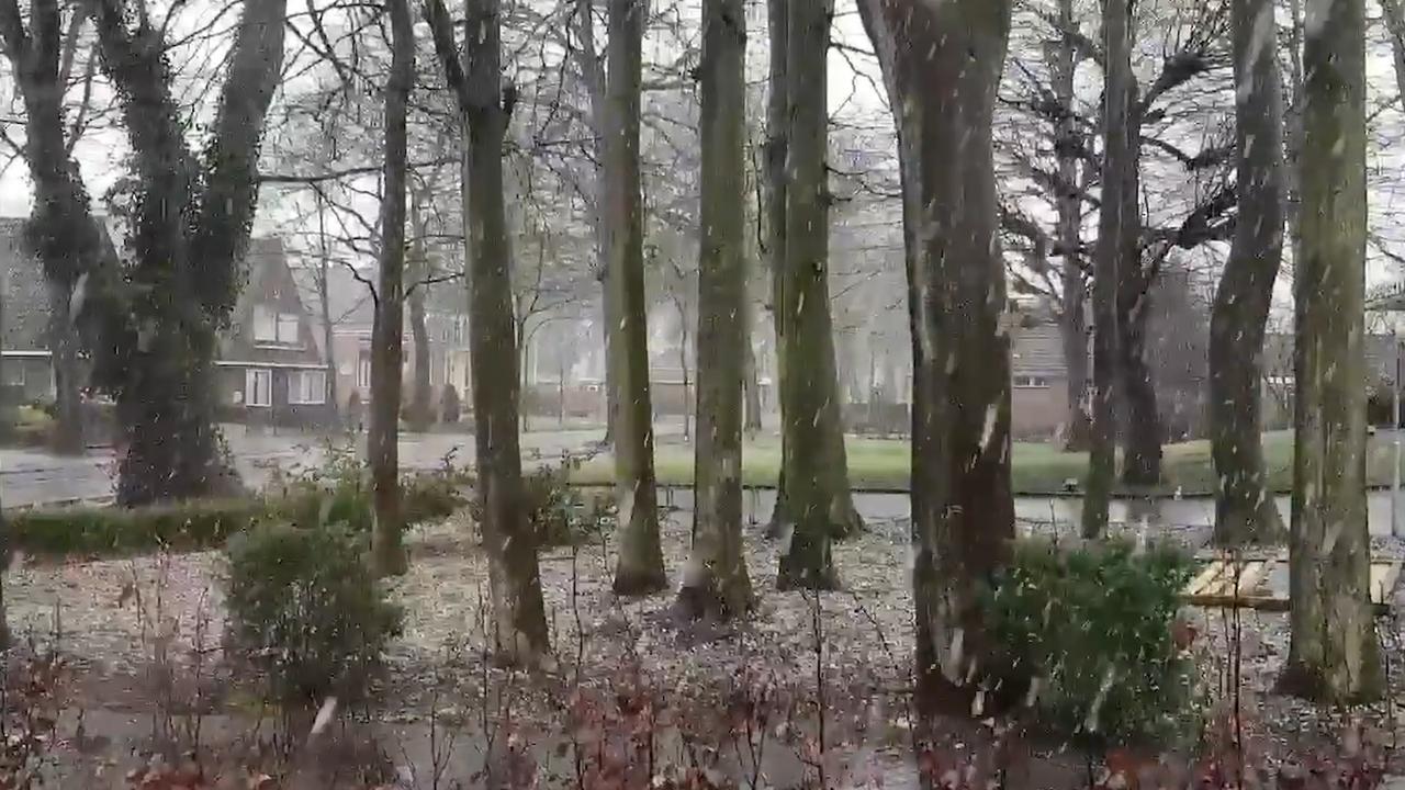 Storm in het zuiden en sneeuw in het noorden van Nederland