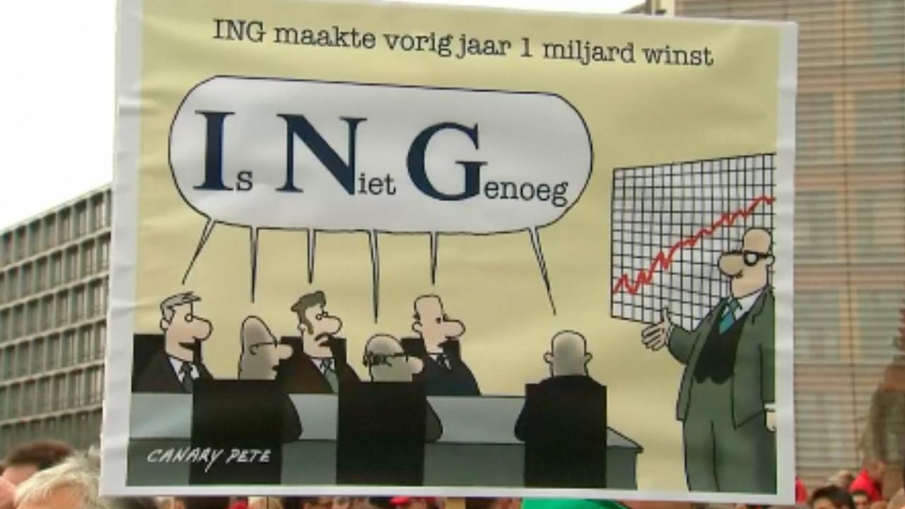 Protest bij hoofdkantoor ING in België